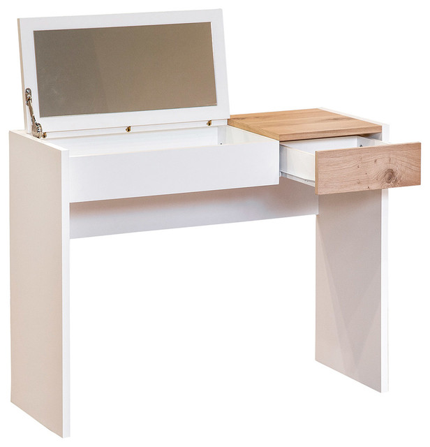 Hidden Dressing Table ~ Fougueuse dressing table with hidden mirror and desk