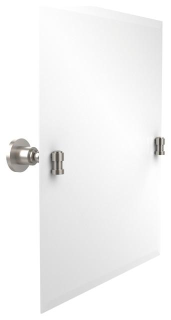 Allied brass frameless rectangular tilt mirror with for Frameless rectangular bathroom mirror