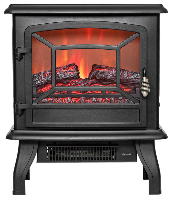 Portable Electric Fireplace, Black - Traditional - Indoor ...