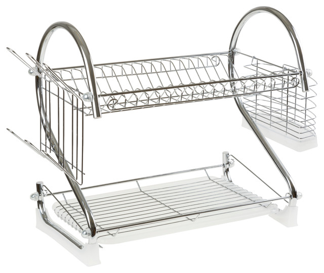 Chrome Dish Drying Rack 2 Tiered With Cup And Utensil