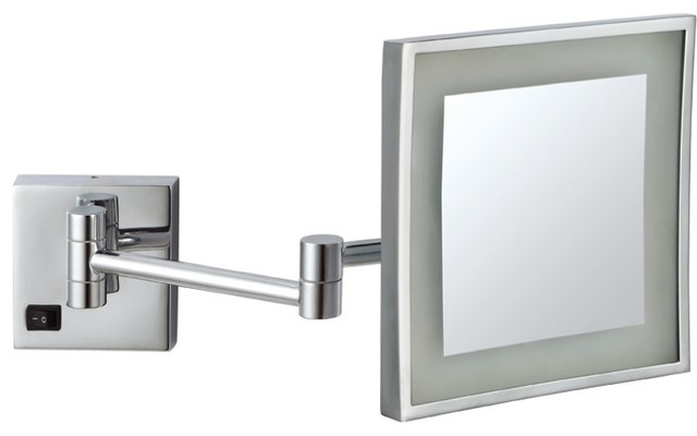 Lighted Wall Mount Makeup Mirror wall mounted 3x lighted makeup mirror - contemporary - makeup