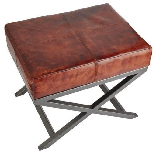 Criss Cross Real Leather and Metal Bench