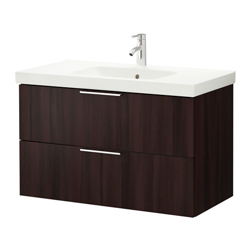 . connecting two Ikea Godmorgon sink units together with makeup counter