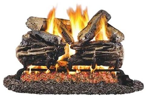 """Standard Burnt Split Oak Gas Logs, 18/20"""" Logs Only."""