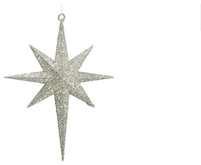 "Glittered Northern Star Christmas Ornament, White, 16.5"" - Contemporary - Christmas Ornaments - by Northlight Seasonal"