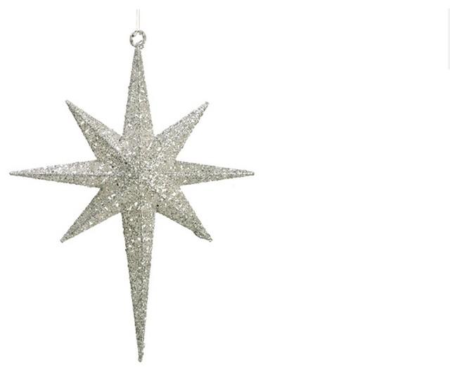 Glittered Northern Star Christmas Ornament White 16 5