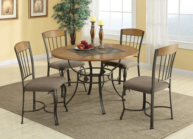 Pc Wood Metal Round Dining Room Set Slate Table Chairs Fabric Seat