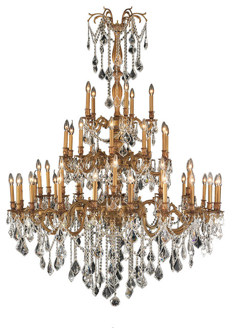 Antique 45-Light French Gold Crystal 4-Tier Chandelier, Clear victorian- chandeliers - Antique 45-Light French Gold Crystal 4-Tier Chandelier - Victorian