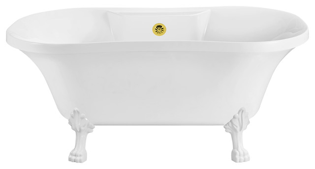 "60"" Streamline Soaking Clawfoot Tub With External Drain."