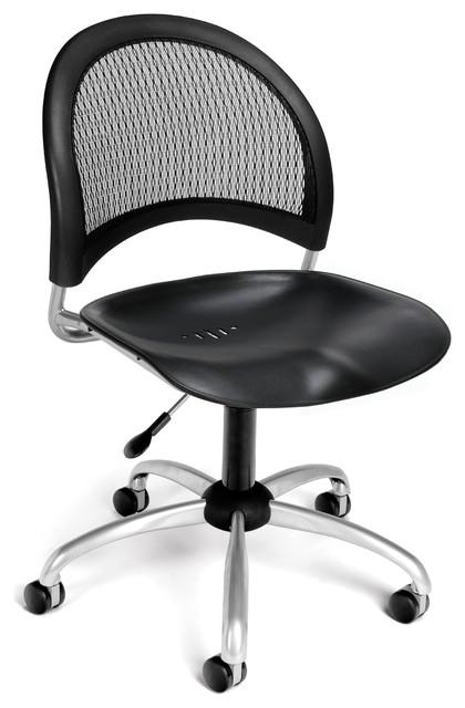 moon swivel plastic chair black contemporary office