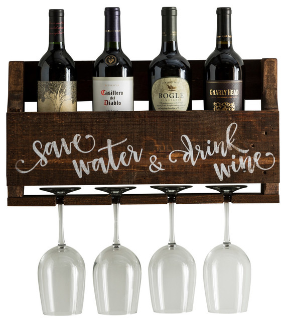 Save Water Wine Quote, Little Elm Collection, Walnut.