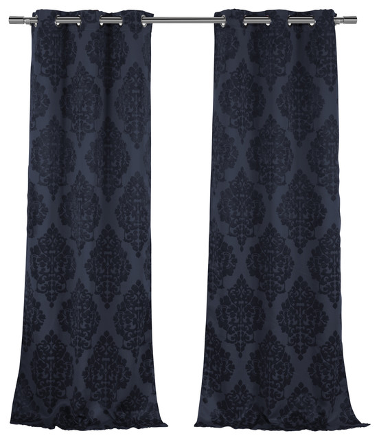 Catalina Jacquard Room Darkening Pair, Indigo.