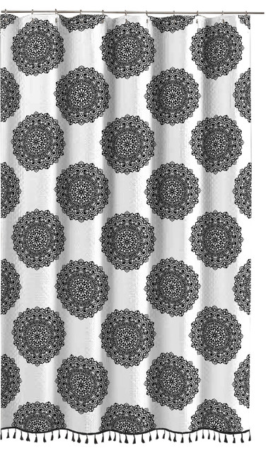 Black White Mandala Fabric Shower Curtain Fun Elegant Boho Style