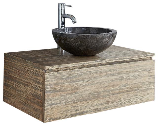 Rubberwood Wall Mounted Bathroom Vanity Unit 80 Cm Modern