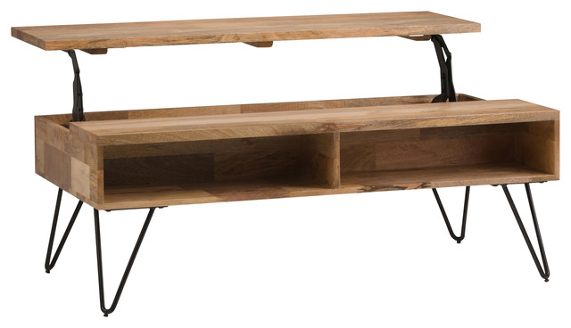 """Simpli Home Hunter Solid Wood 48"""" Rectangle Lift Top Coffee Table in Natural"""