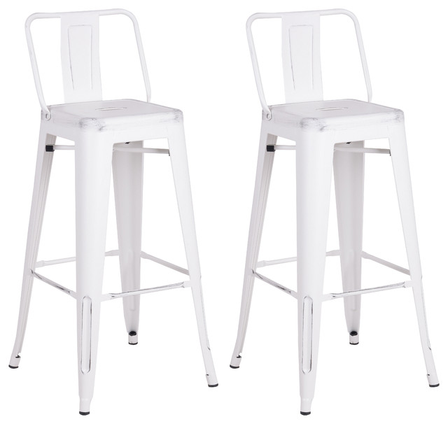 Distressed Metal Barstool With Back Set Of 2 Bar Stools