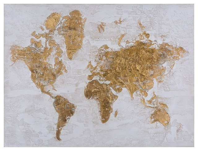 Yosemite Home Decor Mixed Media Wall Art, Map In Gold, Yl150861a.