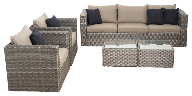 Genial Mustang 5 Piece Wicker Patio Set, Distressed Gray, Brown Cushions