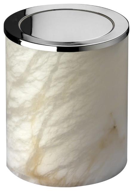 Alabaster Round Extra Small Countertop Wastebasket Trash