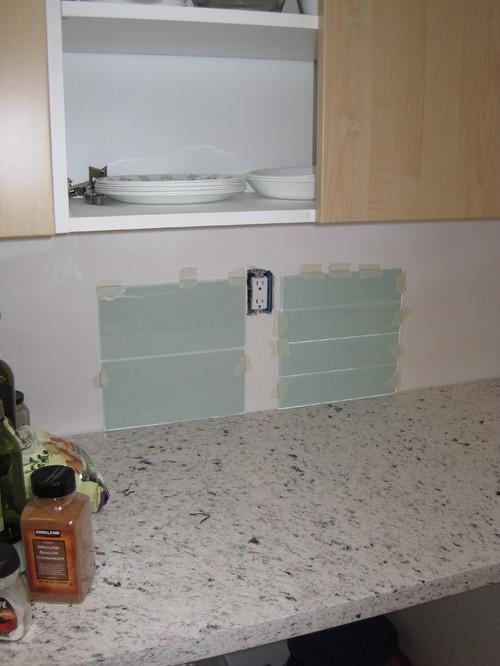 Glass tile backsplash tell us which size looks more - Wallpaper that looks like tile for kitchen backsplash ...