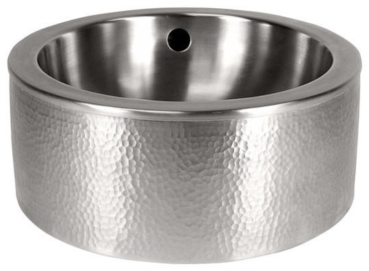 Satin Nickel The Copper Factory CF148SN Solid Hand Hammered Copper Medium Round Undermount Lavatory Sink