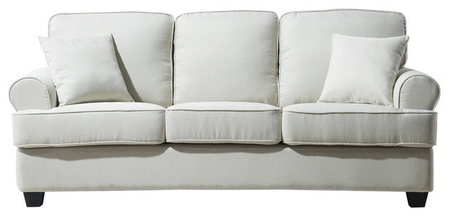 Classic Plush Sofa, Beige Transitional Sofas