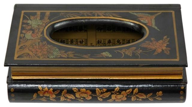 Tissue Box in Black Lacquer Finish asian-decorative-boxes