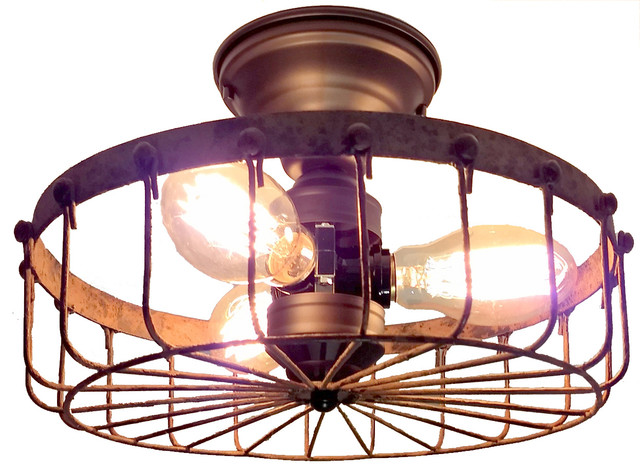 Rustic Industrial Flush Mount Ceiling Light Cage.