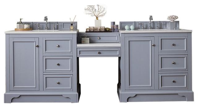 94 Double Vanity Set Silver Gray W