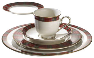 Winter Greetings Plaid 5 Piece Place Setting Rustic Dinnerware