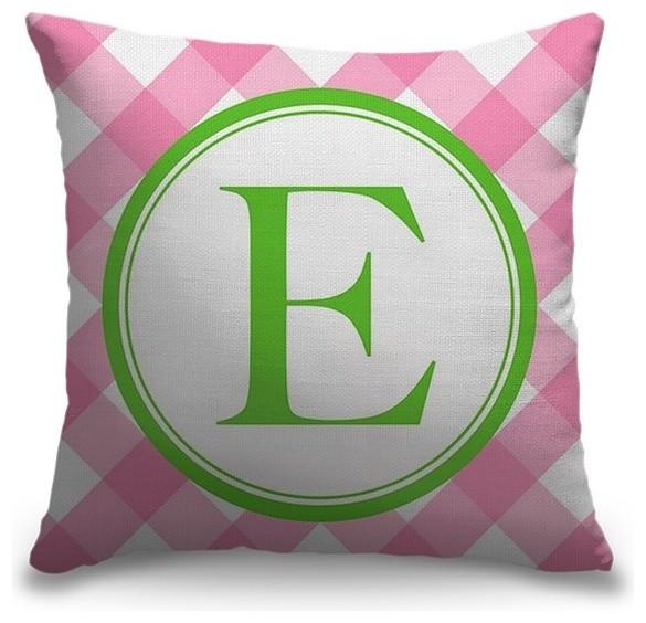 """Letter E - Circle Plaid"" Outdoor Pillow 16""x16"""