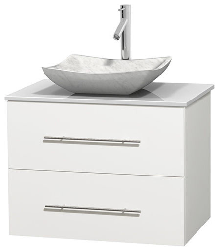 30 Single Bathroom Vanity In White, White Man-Made Stone Countertop And Sink.