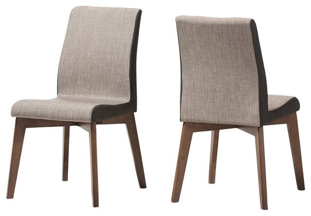 Tremendous Kimberly Mid Century Modern Dining Chairs Set Of 2 Gravel Multi Color Walnut Short Links Chair Design For Home Short Linksinfo