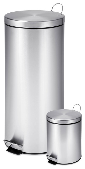 Dual Pack Stainless Steel Step Trash Can Set Of 2 Trash