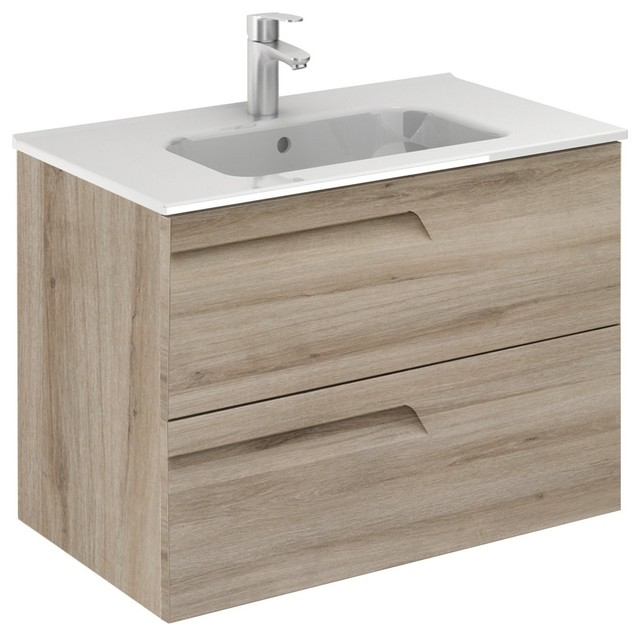 Vitale 32 Inches Wall Mounted Modern Bathroom Vanity 2 Drawer Natural With Basin Contemporary Bathroom Vanities And Sink Consoles By Bath4life Houzz