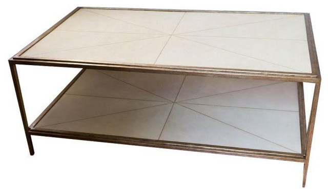 White And Brass Shagreen Cocktail Table   $2,785 Est. Retail   $1,945 On  Chairis