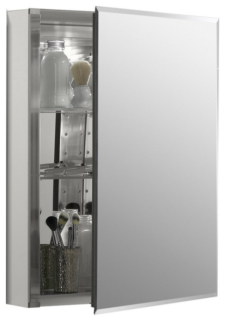 Aluminum Medicine Cabinet With Mirrored Door, Beveled Edges, Aluminum.