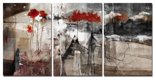 Abstract 3-Piece Canvas Wall Art - Contemporary - Prints And Posters ...