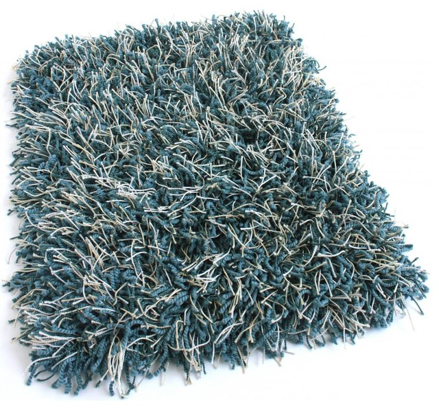Runner Peacock Blue Shaggy Area Rug With Polyester Edges, 2.5u0027x9u0027  Contemporary