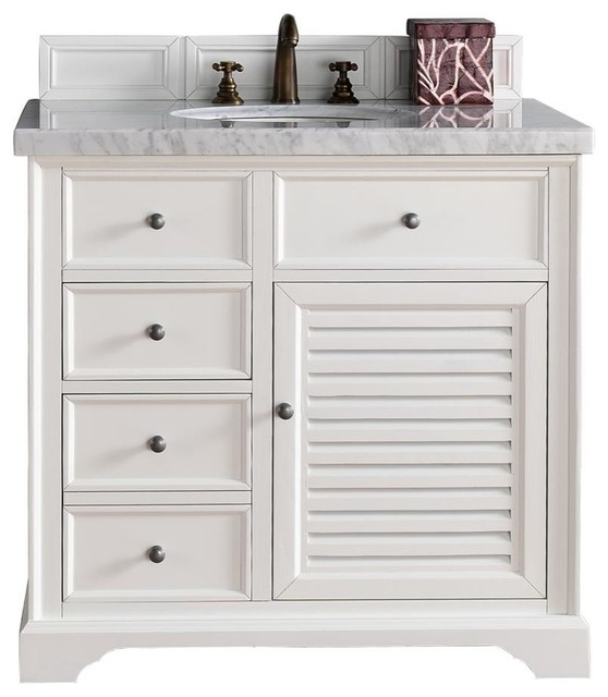 "Savannah 36"" Vanity, Cottage White, 3cm Gray Expo Quartz Top"