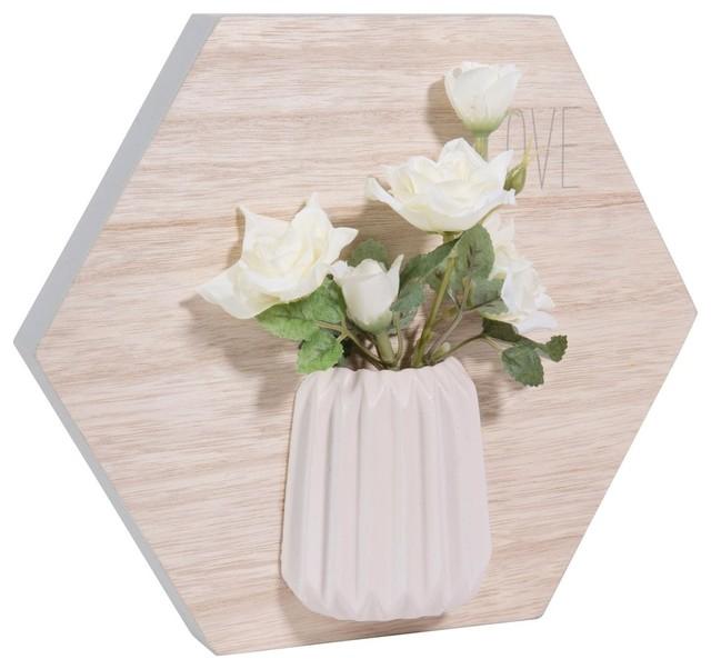 Quadro Esagonale In Legno 20 X 23 Cm White Bloom Contemporaneo