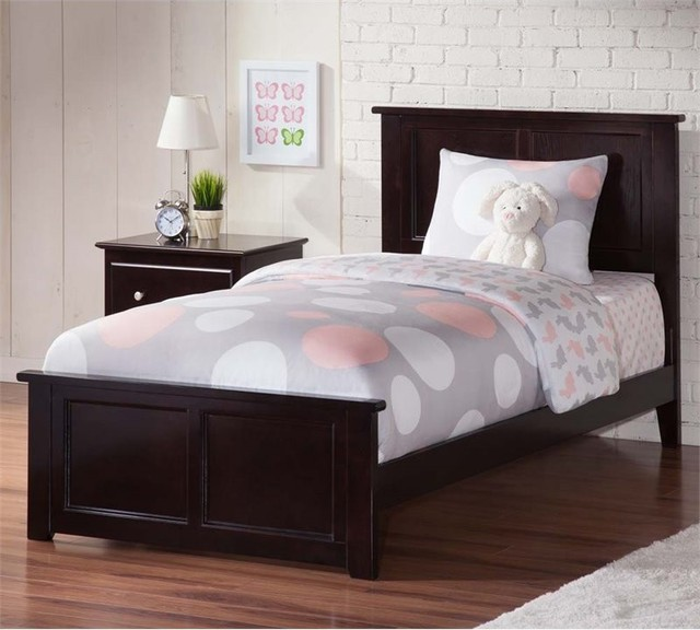 Madison Twin Xl Bed With Matching Foot Board In Espresso.