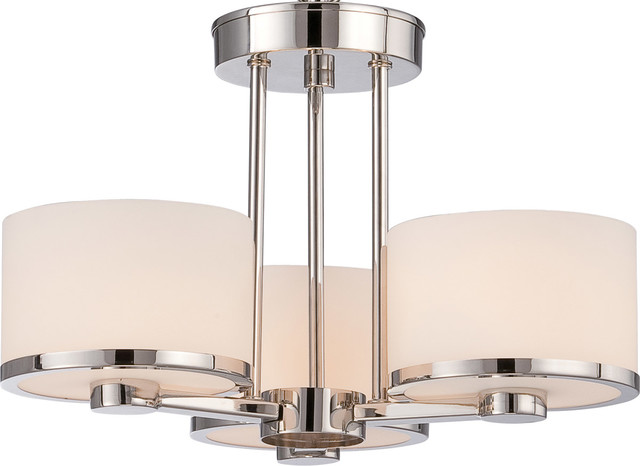 Celine 3-Light Semi-Flush Mounts, Polished Nickel.
