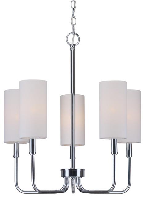 5 Light Chandelier, Chrome, Off White Linen Shade
