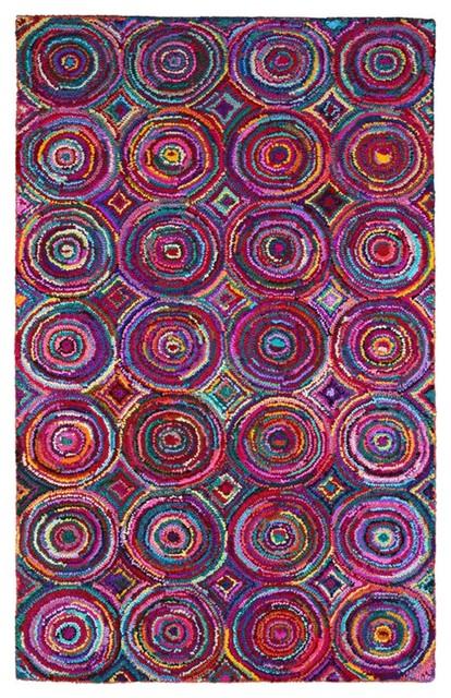 Handmade Brilliant Colored Ribbon Area Rug Multi 2 5x8 Circles Contemporary
