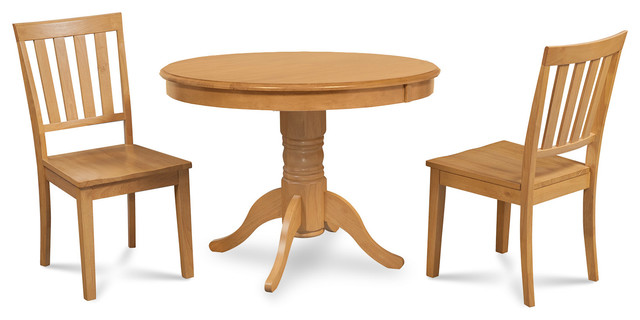 Brookline 3 piece round kitchen dining table and chairs for Traditional kitchen table sets