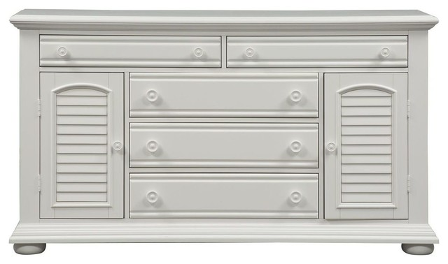 Liberty Furniture Summer House I 2 Door 5 Drawer Dresser, Oyster White  Finish