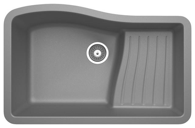 """Swan Granite Ascend Bowl Undermount Kitchen Sink 32""""x21"""", Metallico."""
