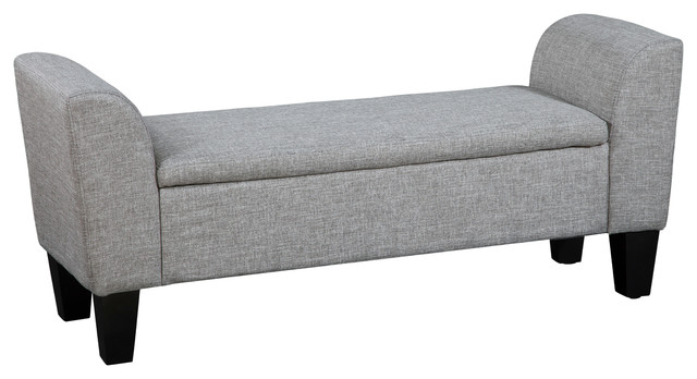 Claire Upholstered Storage Bench, Gunmetal.