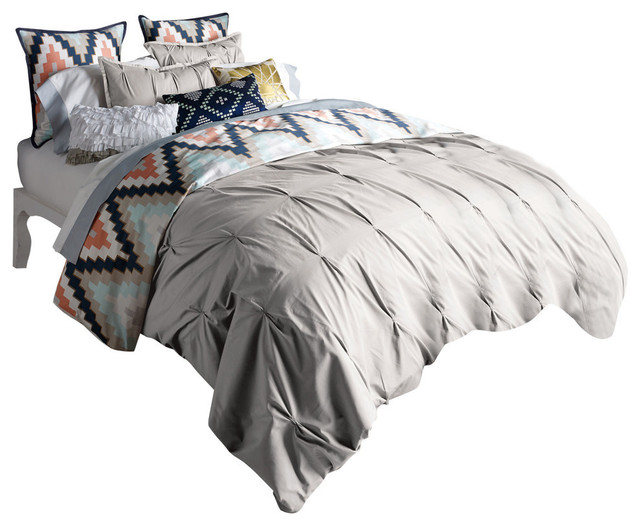 Beau Harper Duvet Set, Grey, Full. Queen